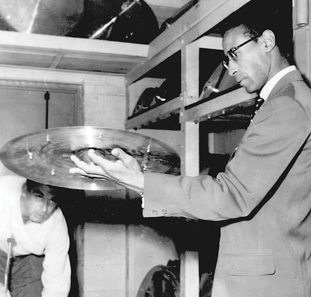 Armand Zildjian with Max Roach, c. 1950.