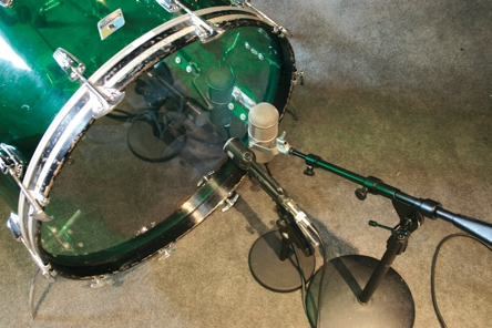 """Fig. 14 Two mikes on the resonant head of a 26"""" acrylic bass drum."""