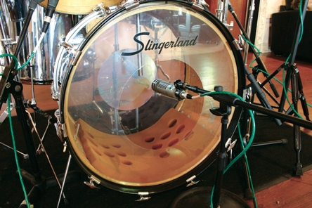 Fig. 3 In the '70s it was common to dampen the bass drum with foam or a pillow and place the mike deep inside.