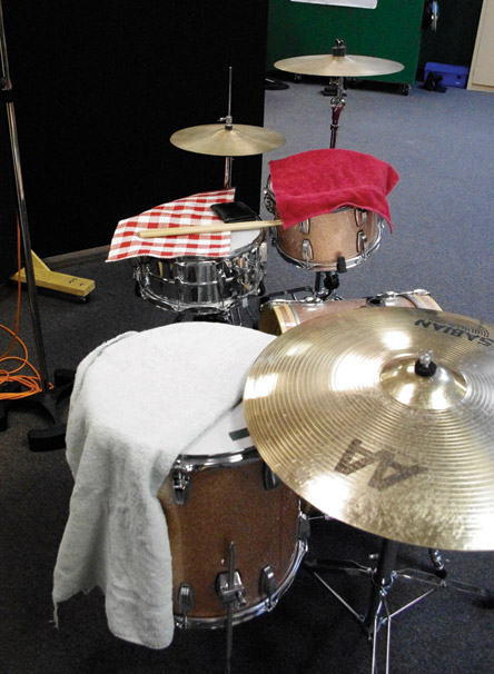 Fig. 6 On late-decade Beatles recordings, towels were placed over Ringo's drums to dampen overtones.