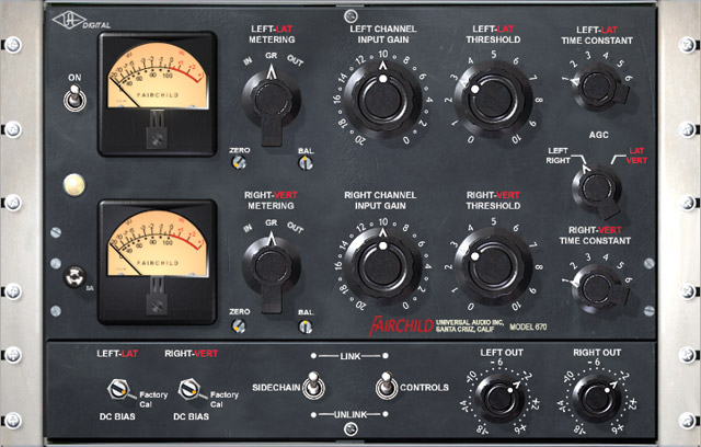 Fig. 7 The Fairchild 660/670 tube limiter was extensively used on drums, especially on The Beatles' Abbey Road album. This version runs on the UAD platform.