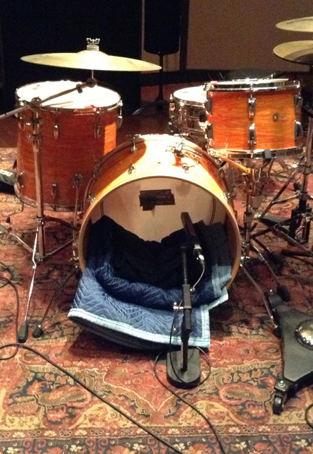 4. Kick drum mike placement using a Sennheiser MD441.